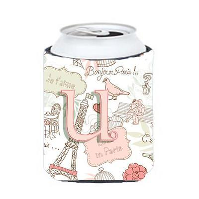Carolines Treasures CJ2002-UCC Letter U Love In Paris Pink Can & Bottle Hugger • AUD 45.90