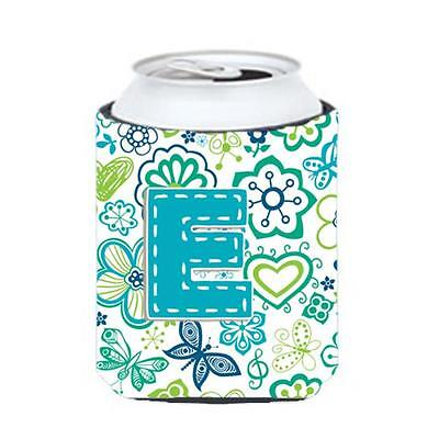 Letter E Flowers And Butterflies Teal Blue Can & Bottle Hugger