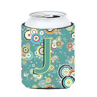 Letter J Circle Circle Teal Initial Alphabet Can & Bottle Hugger