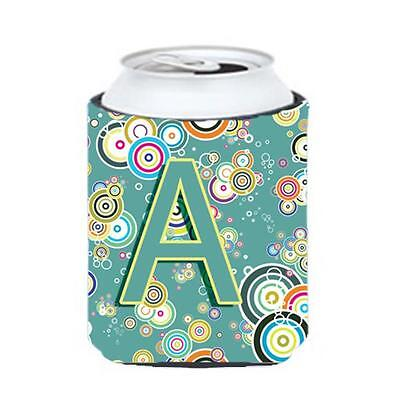 Letter A Circle Circle Teal Initial Alphabet Can & Bottle Hugger