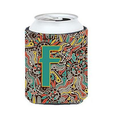 Carolines Treasures Letter F Retro Tribal Alphabet Initial Can & Bottle Hugger