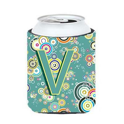 Letter V Circle Circle Teal Initial Alphabet Can & Bottle Hugger