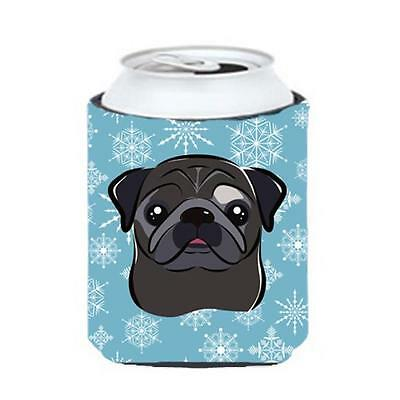 Carolines Treasures BB1697CC Snowflake Black Pug Can & Bottle Hugger