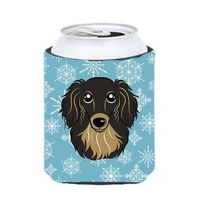 Snowflake Longhair Black And Tan Dachshund Can & Bottle Hugger