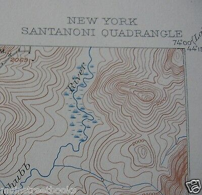 SANTANONI NY Adirondack Park TOPOGRAPHICAL MAP 1947 Ampersand Mts. Indian Pass