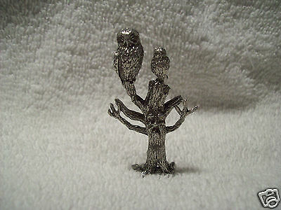 Pewter Owls In Haunted Tree With Face Figurine