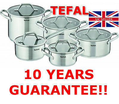 ~~ New Tefal Hero Stainless Steel Cookware Set 10 Pcs Glass Lid Pots Kitchen ~~