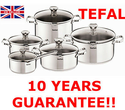 ~!+ Tefal Duetto Stainless Steel Cookware Set 10 Pcs Glass Lid Pots Kitchen +!~
