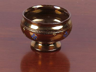 Antique vtg copper lustre footed bowl lusterware painted flowers