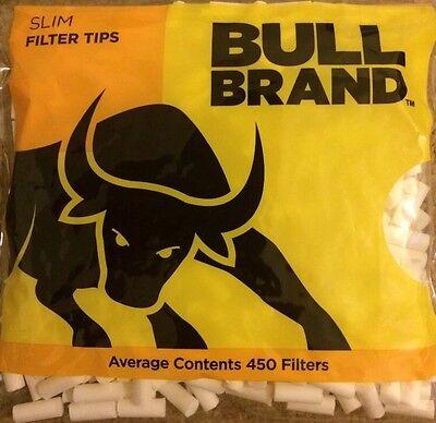 2 X BULL BRAND Genuine White Fresh Resealable Rolling Bag 450 Slim Filter Tips