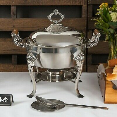 Choice Classic Round 1/2 Size 5 Qt. Stainless Steel Chafing Dish Buffet Catering