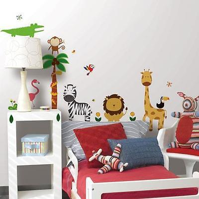ZOO SAFARI Wall Stickers 41 Decals Jungle Animals Tree Elephant Monkey Lion Kids