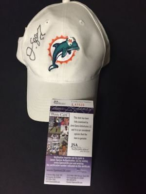 Autographed/Signed JUNIOR SEAU Miami Dolphins Football Hat/Cap JSA COA Auto