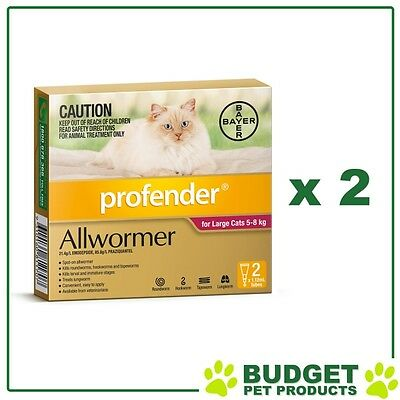 *** Combo *** Profender For Cats All Wormer Pink 5-8kg x 2 Packs