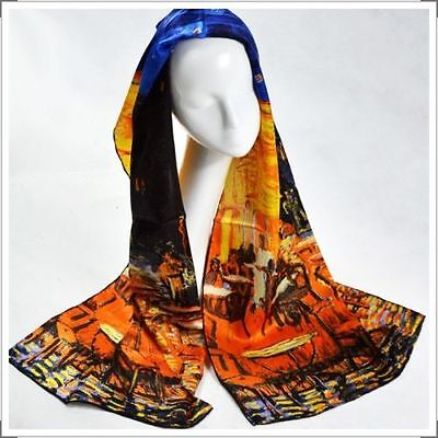 "Oblong 100% Charmeuse Silk Scarf Oil Painting Van Gogh's ""Cafe Terrace at Night"""