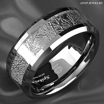 8mm silver Tungsten Carbide Ring Sterling silver Inlay Wedding Band Mens jewelry