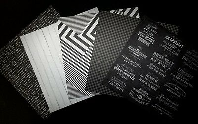 """5 Patterned BLACK/WHITE/GREY  Scrapbooking Papers *20cm x 20cm* (8"""" X 8"""")"""