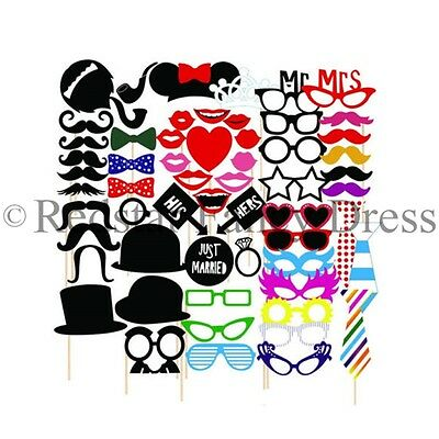 58Pc Party Booth Photo Props Wedding - Stick On Glasses Hats Moustaches Party