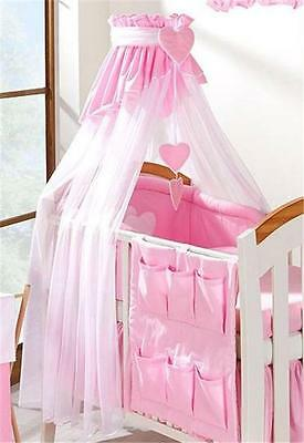 LUXURY COT CANOPY NET 320cm WIDTH + FREE FLOOR STAND PLAIN WHITE / PINK