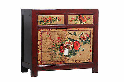 Antique Hand Painted Chinese Floral Elm Red Chest Drawers Cabinet Cupboard 1930