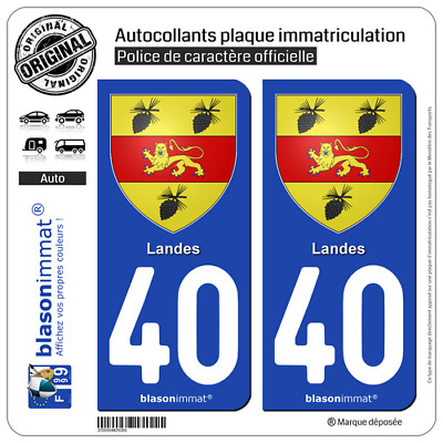 2 Stickers autocollant plaque d'immatriculation | 40 Landes - Armoiries