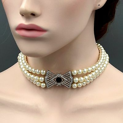 Glass Pearl Rhodium Plated Clear Crystal Bow Bib Statement Necklace Choker 7139