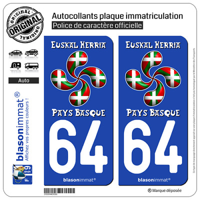 2 Sticker autocollant plaque immatriculation | 64 Pays Basque - Lauburu Drapé