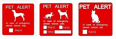 Pet alert dog cat emergency sign - sticker decal cling magnet inside window