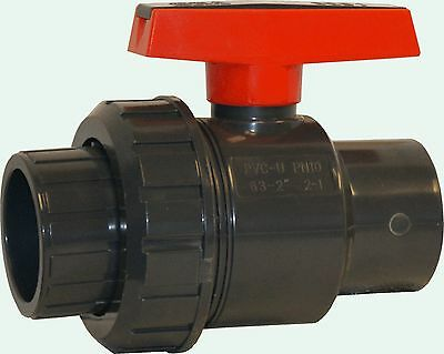 New Sch 80 Pvc 2 Inch Single Union Ball Valve Grey Socket X Slip New Sch 80 Pvc