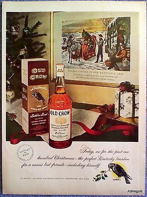 1949 Old Crow Whiskey Christmas Tree Painting Holiday Cheer Kentucky 1842 ad