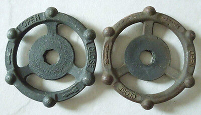 (2) Industrial Oil & Gas Refinery Cast Iron Water Valve Handles Steampunk #1