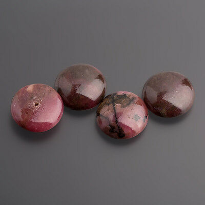 Rhodonite Cabochon Button earrings drilled 14 mm pink-black / BOX
