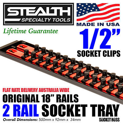 "STEALTH 2 x 18"" Rails Socket Organiser 1/2"" Twist Lock Tool Tray Holder Secure"