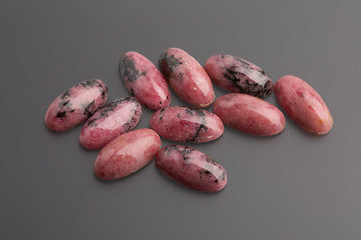 Rodonite Cabochon 16 x 8 mm Ovale rosa-nero / SCATOLA