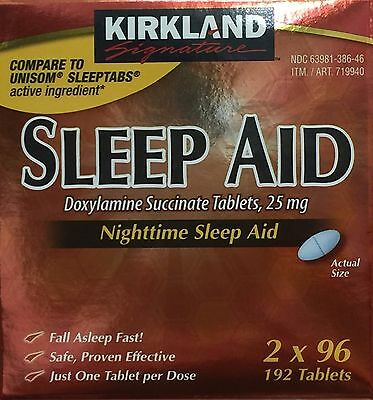 Kirkland Signature Nighttime Sleep Aid Doxylamine Succinate 192 Tablets 25mg