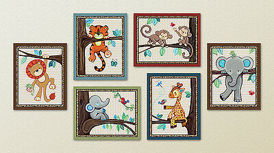 Treetop Jungle Animal Buddies. Safari Animals, Nursery/Baby/Kids Wall Art/Decor