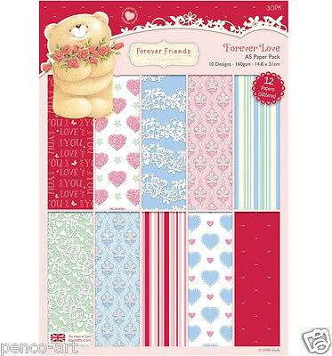 Papermania Forever Friends 30 pk A5 160gsm paper love butterflies hearts