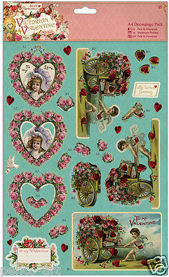 Papermania 4 pk of A4 decoupage die cut paper Victorian Valentine love HEARTS