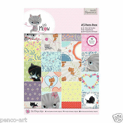 Papermania 42 different designs 42pk of A5 160gsm paper Little Meow kittens cats
