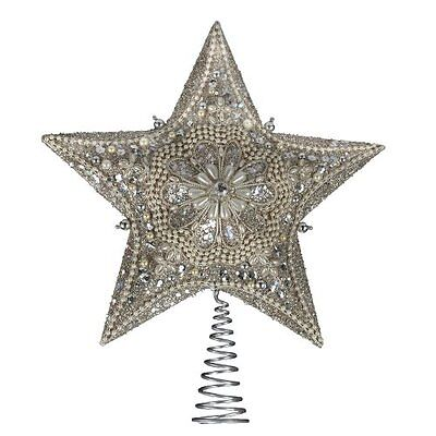 Kurt Adler 13.5-inch Star Treetop with Ivory Pearls and Platinum Glass Glitter,