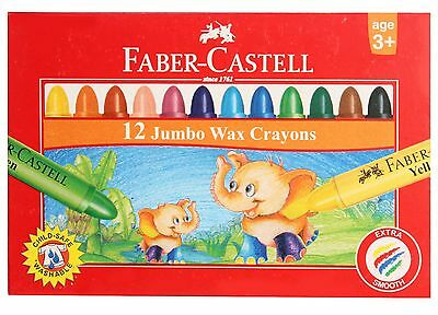 Faber Castell 12 Wax Crayons 90mm Colouring Drawing Kids School Children Arts