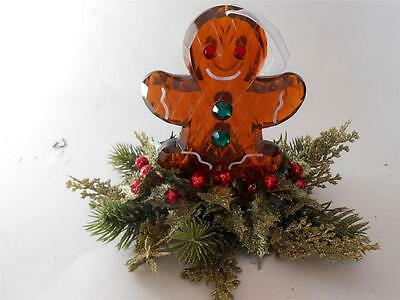 "7"" Acrylic Gingerbread man Christmas ornament decor with Floral Holly berries"