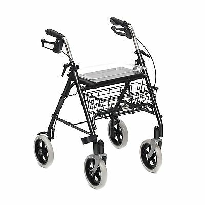 Rollator Lightweight Walking Frame Zimmer 4 Wheeled seat basket and tray used