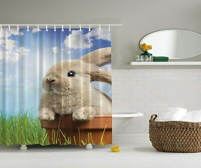 Cute Bunny In Pot Graphic Shower Curtain Spring Clear Sky Rabbit Kids Bath Decor
