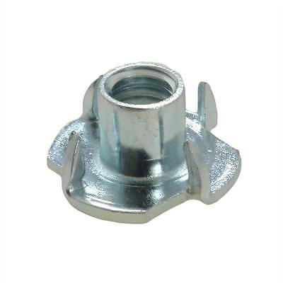 Qty 10 Tee Nut M6 (6mm) Zinc Plated 4 Prong T Nut Blind Timber Wood