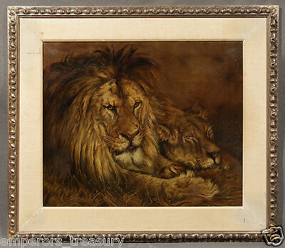 19th Century Unsigned Oil Painting of Two Lions, possibly by Alexander Pope