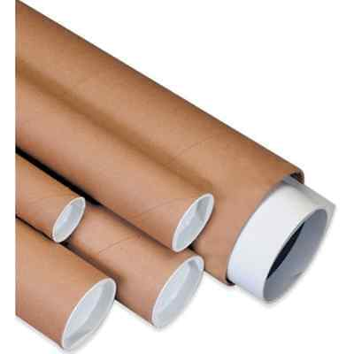"Aviditi P4012K Spiral Wound Fibreboard Mailing Tube with Cap, 12"" Length x 4"" of"
