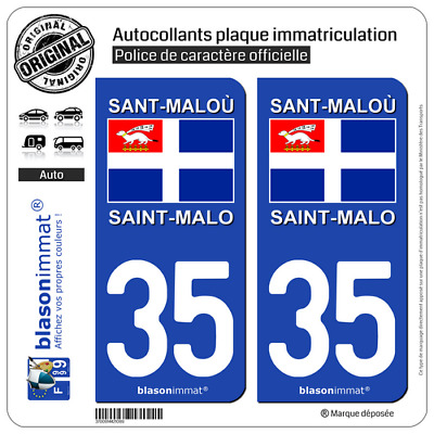 2 Sticker plaque d'immatriculation auto | 35 Saint-Malo - Drapeau | 35400
