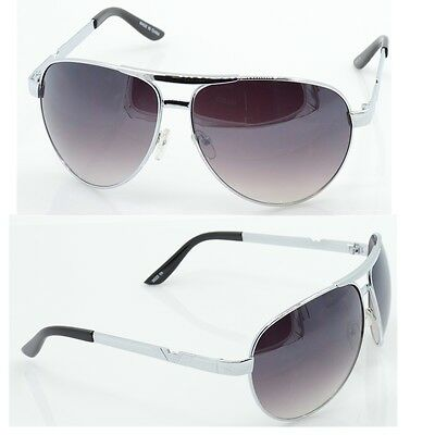 Unisex Silver Brown Fashion Designer Metal Frame Aviator Shades Sunglasses A3022