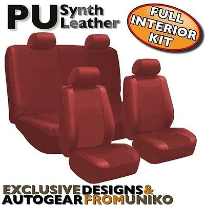Red PU Faux Leather Car Seat Cover Set Headrests Steering Wheel 13pc CS3
